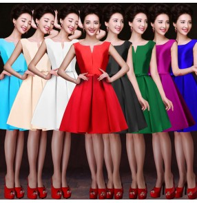 Wedding Bridesmaid Dresses evening dresses Fashion Women  double shoulder satin silk Padded Long Bridesmaid Dresses