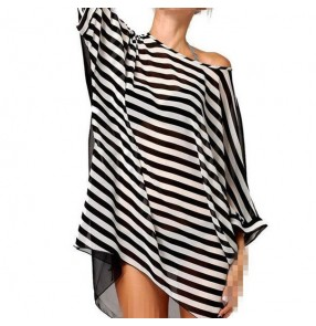 White and black striped hollow back front patchwork tank sleeveless women's girls side split sexy fashion A line dresses vestidos