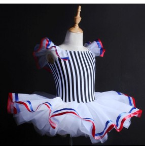 White and black striped royal blue red patchwork girls kids children competition professional leotards tutu skirt  ballet dress