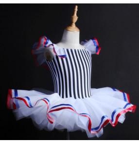 White and black striped royal blue red patchwork girls kids children competition professional leotards tutu skirt  ballet dress