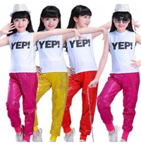 white and gold fuchsia hot pink black Girls boys modern dance break dance hip hop jazz performance competition dance costumes outfits