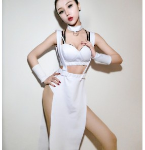 White army green split set women's ladies hot dance night club leader singers dancers performance dj ds  outfits costumes