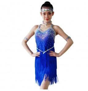 White black red fuchsia turquoise royal blue fringes rhinestones competition girls latin salsa cha cha dance dresses