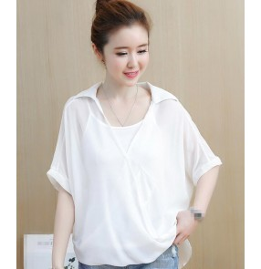 white black summer korean style women's girls chiffon fashion tops blouses