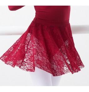 White black wine Girls Kids Ballet Dance Skirts Black Floral Lace Pettiskirt Elastic Waist Half Ballet Dress