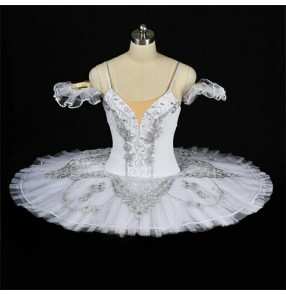 White embroidery classical women's ladies professional rehearsal pancake plate tutu skirt ballet dance dresses costumes
