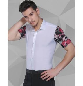 White floral Short Sleeves Men Waltz/Latin Shirt Adults Dance Tops Ballroom Dance Clothing Salsa/Cha Cha/Rumba Dancing Clothes