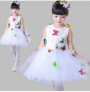 White lace with butterfly pattern girls kids children fairy modern ballet jazz singers princess chorus performance dresses