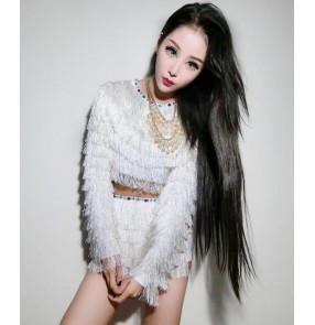 White layers fringes sexy fashion women's ladies performance leader singers dancers dj ds night club jazz costumes outfits