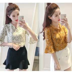 White rose flower apricot  flowers printed chiffon girls women's fashion ruffles  neck summer blouses tops