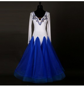 White  royal blue embroidery pattern long sleeves big skirted women's ladies competition performance waltz ballroom dance dresses