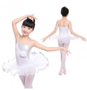 White silver girls kids children toddlers performance competition leotards tutu skirts ballet skating dance dresses