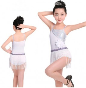 White silver  sequins paillette girls kids children performance competition latin salsa skating dance fringes dresses