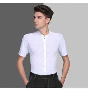 White stand collar floral embossing short sleeves competition performance men's male ballroom latin dance shirts tops