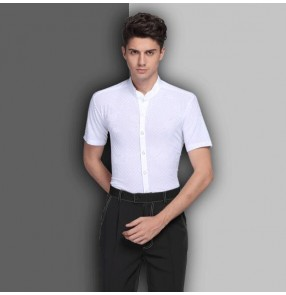 White stand collar short sleeves striped competition performance latin ballroom latin salsa dance tops