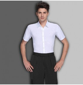 White striped down collar short sleeves competition performance men's male latin ballroom dance tops shirts