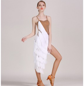 White tassels flesh skin colored patchwork luxury rhinestones women's ladies female competition professional latin samba salsa cha cha rumba dance layers irregular hem  tassels dresses