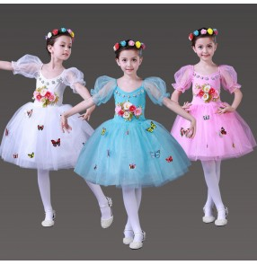 White turquoise light pink rose flowers girls Fairy angel modern ballet tutu jazz singers solo performance dresses outfits