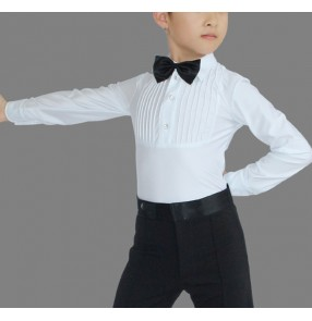 White with black bow tie boys kids children school competition performance latin ballroom tango dance tops leotards shirts
