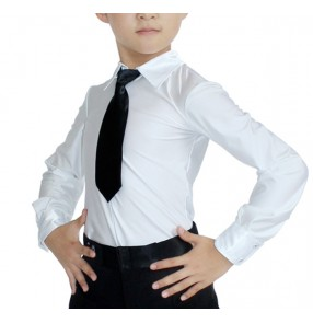 White with black neck tie boys children kids competition performance ballroom latin salsa dance leotards tops shirts