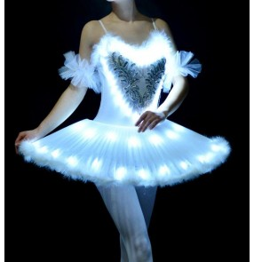 White women's ladies professional competition swan lake led glitter stage performance tutu skirt ballet dance dresses costumes