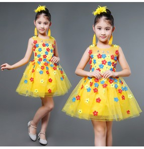 White yellow green royal blue flowers modern dance girls kids children performance flower girls chorus dancing dresses