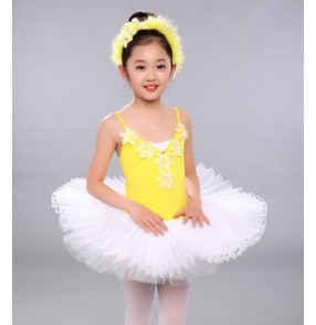 White yellow patchwork swan lake girls children kids plate pan cake tutu skirt rehearsal practice ballet dresses
