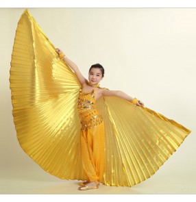 Wholesale 360 degree belly dance wing for kids children belly dance props gold and silver cloth belly dance wing girls dance accessories