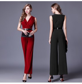 Wine red black Women Jumpsuit V-neck Long wide pants Overalls Elegant Rompers Bow Playsuit Combinaison Femme