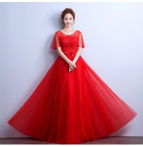 Wine red  bridesmaid party Evening Dresses Flutter Sleeve Long Women Gown New Lace Summer Style Special Occasion Dresses