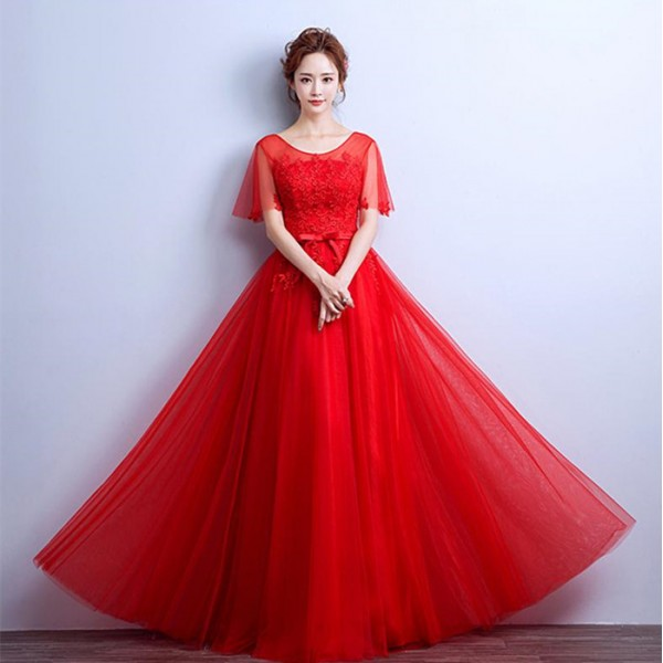 1cda9908859 Wine red bridesmaid party Evening Dresses Flutter Sleeve Long Women Gown  New Lace Summer Style Special Occasion Dresses
