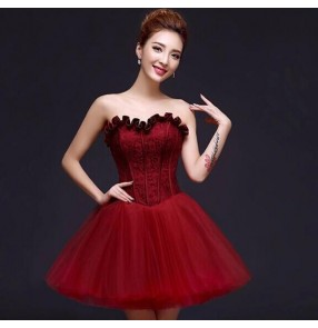 Wine Red white dark green Lace Luxury Satin off shoulder short Evening Dress Elegant Banquet Prom Dress Robe De Soiree