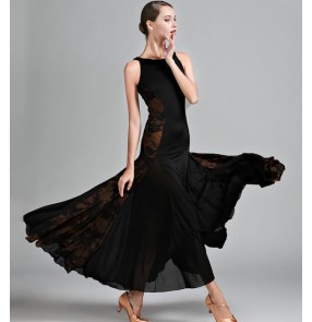 Women Black blue flamenco Ballroom Dance Dress Waltz Dance Dress Ballroom Dance Competition Dresses Standard Dresses
