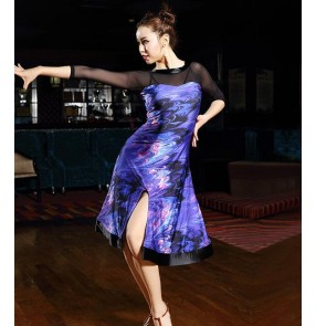 Women Black Latin Dance Dress Women Ballroom Dancing Dresses Latin Dance Costume  Tango Dress Samba Skirts