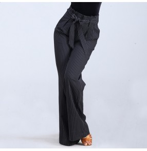 Women Competition performance black and white striped ballroom latin dance Long Pants Harem Dancing Trousers Wide Leg DanceFlare Pants