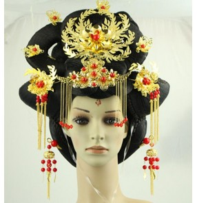 Women empress wu zetian cosplay wig empress hair tang empress wig chinese queen princess ancient wig tang dynasty hair