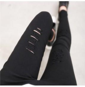 Women Fahion Slim Hole leggings Broken Hole Pencil Pant legging Trousers Ripped Slim  Stretch Pants Hole Decorate