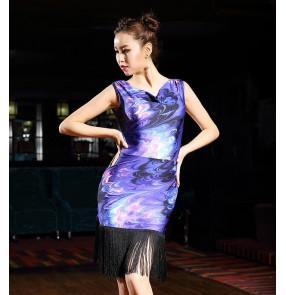 Women female fringes black violet latin Dance dresses Clothes Salsa Costume Ballroom Competition Latin Dresses for Ladies