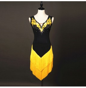 yellow black rhinestones Latin Dance Dresses Women/ Fringes long Skirt Ballroom/Tango/Rumba/Latin Dresses Clothings For Dancer