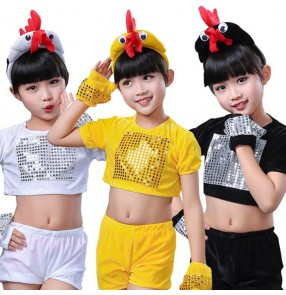 Yellow black white velvet sequins patchwork girls boys cartoon animal chicken cosplay performance dance costumes outfits