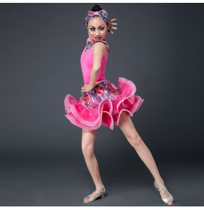 Yellow fuchsia hot pink floral printed fashion girls kids children competition performance exercises latin dance dresses