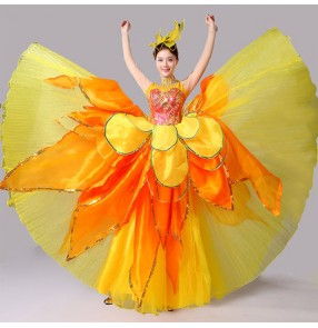 Yellow gold petals flamenco women's ladies performance competition ballroom Spanish bull dance dresses outfits