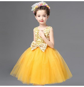 Yellow gold purple pink fuchsia royal blue sequins girls school performance jazz singers chorus dancing dresses outfits