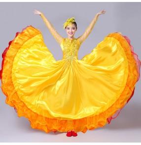 Yellow gold red fuchsia hot pink long sleeves women's ladies flamenco Spanish bull dance folk ballroom dance dresses costumes