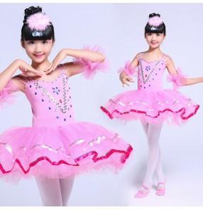 Yellow gold white patchwork girls kids children rehearsal performance ballet tutu pancake plate skirt ballet dresses