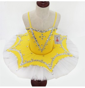 Yellow gold white patchwork plate  girls kids tutu skirt performance competition pancake  ballet dance leotards dresses