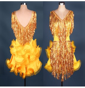 Yellow hot pink New Latin Dance Competition Costumes Sequin Fringed performance competition ballroom rumba cha cha dance Dress Women
