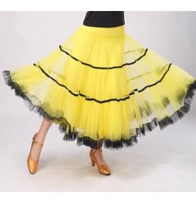 Yellow red pleated fashion women's ladies standard full skirted competition ballroom tango waltz dance skirts