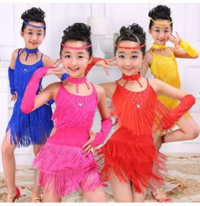 Yellow royal blue hot pink fuchsia red rhinestones fringes competition exercises girls latin dance dresses