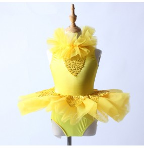 Yellow sequins patchwork girls competiiton kids children modern dance ballet tutu skirt ballet dance dresses costumes